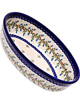 Polish Pottery Ceramika Boleslawiec-1210/166 9-2/3 by 6-7/10-Inch Oval Mirek Baker 2, Royal Blue Patterns
