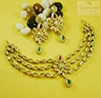 Cz kundan polki bridal necklace earring jewellery set