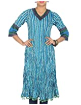 Rajrang Women's Printed Long Kurti (TOP05054_Blue_X-Large)