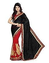 Ishin Georgette Red & Black Embroidered Saree