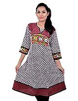 Kala Sanskruti Women's Cotton Silk White Kurti
