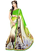 Shree Bahuchar Creation Women's Chiffon Saree(Skb43, Green and White)