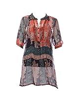 Pure Nautanki Women's Dress (PB-134_Red Black)