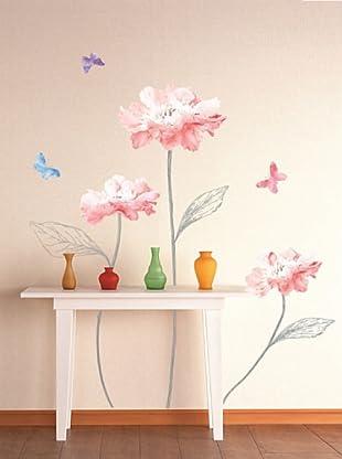 Vinilo Brillantes flores rosas y mariposas Multicolores