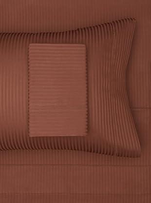 300 Thread Count Satin Stripe Sheet Set (Chocolate)
