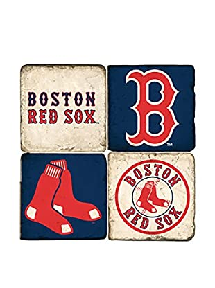Studio Vertu Set of 4 Red Sox Logoed Tumbled Marble Coasters with Stand
