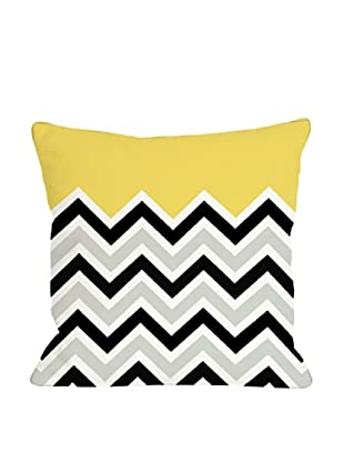 One Bella Casa Chevron/Solid 18x18 Outdoor Throw Pillow (Bright Yellow)