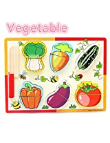 """Pretend Play """"PIGLOO"""" Brand Wooden Vegetable Slice Cutting Toy Set for Children - 6 Assorted Vegetables and Wooden Toy Knife"""