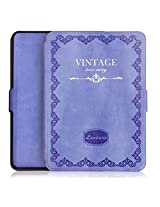 Amazon Kindle Paperwhite Case Cover, PREMIUM RETRO Vintage Leather Lightest Thinnest Protective Leather Case Cover with Auto Wake/Sleep for Amazon Kindle Paperwhite 2012, 2013, 2014 and 2015 New 300 PPI {Violet}