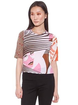 Custo Camiseta Marrón / Rosa