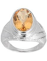 925 Sterling Silver & Natural Faceted Golden Topaz Gemstone Men's Ring