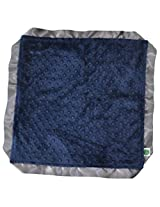 "Cozy Wozy Signature Minky Lovie Sized Baby Blanket with Satin Trim Lovie, Navy Blue/Charcoal Gray, 18"" x 18"""
