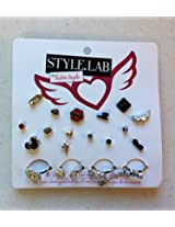 Fashion Angels Style Lab Toy Play 15 Surgical Steel Stud Earrings & 3 Novelty Rings Jewelry