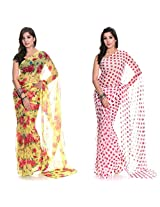 Aaditri Fashions Set Of 2 Chiffon Printed Sarees