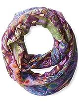 La Fiorentina Women's Peacock Print Infinity Scarf, Purple/Multi, One Size