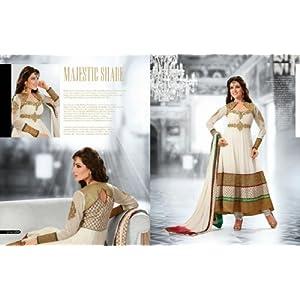 White Georgette with Embroidery Work Unstitched Anarkali Salwar Kameez Suit