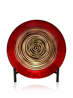 UMA Glass Bowl with Stand, Red/Gold/Brown