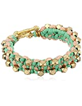 Ettika Dual Side Beads Green, Tan Color Combination Bracelet, 7""