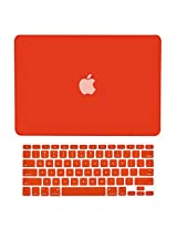 TopCase 2 in 1 Rubberized RED Hard Case Cover and Keyboard Cover for Macbook White 13 (A1342/Latest) with TopCase Mouse Pad