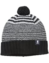 Psycho Bunny Men's Craig Tuck Stich Knitted Hat, Black/Light Grey, One Size