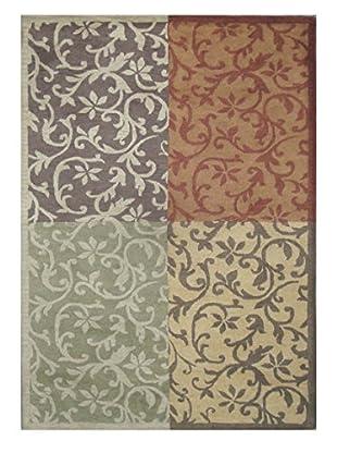Acanthus Patchwork Rug, Grey/Terra Cotta/Sage, 5' x 8'