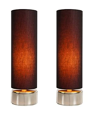 Filament Set of 2 Round Contrast Shade Table Lamps, Black/Orange