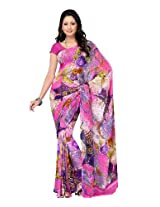 Fabdeal Faux Georgette Printed Saree - OQDSR8916RDC (Pink)