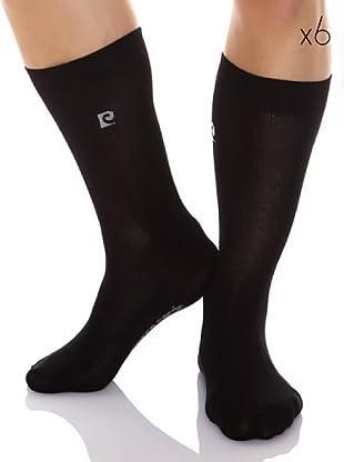 Pierre Cardin Pack 6 Pares Calcetines Hilo De Escocia Algodón Mercerizado Adaptable (Negro)