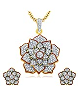 Sukkhi Lotus Gold And Rhodium Plated CZ Pendant Set For Women