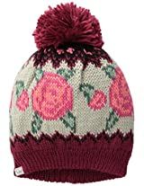 Coal Women's The Rose Wallpaper Knit Hat with Pom Pom, Burgundy, One Size