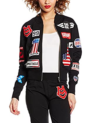 LOVE MOSCHINO Giubbino Bomber Con Patches, Giacca Donna, Black C74, 40