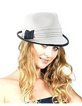 NYfashion101 Spring Summer Simple Band Short Brim Stylish Classic Fedora Hat White
