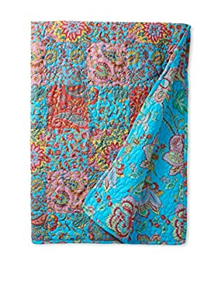North Rodeo Collection Floral Block Hand Stitched Throw, Blue/Red