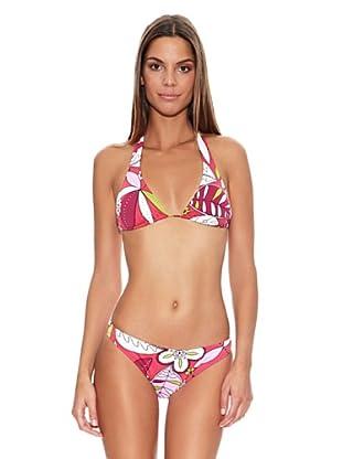 Mare Mio by Bora Bora Bikini Halter Corredero Flores (Rosa)