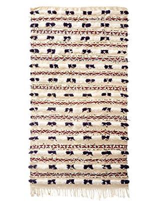 Vintage Berber Wedding Rug, Creme/Navy/Orange/Maroon, 3' 5