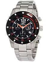 Invicta Men's 1245 II Collection Chronograph Black Dial Stainless Steel Watch