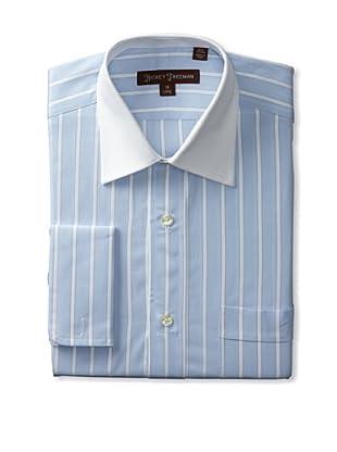 Hickey Freeman Men's Dress Shirt with Contrast Collar (Blue)