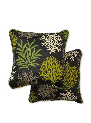 Waverly Set of 2 Sun-n-Shade Marine Life Square Decorative Throw Pillows (Onyx)