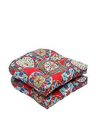 Pillow Perfect Set of 2 Indoor/Outdoor Cera Garden Wicker Seat Cushions, Red
