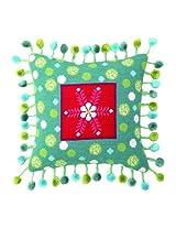 Peking Handicraft 12-Inch by 12-Inch Needle Point Pillow, Folk