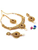 Megh Craft Colorful Changeable Stone One Gram Gold Plated Bridal Jewellery Set - JWOG32