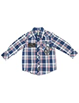 Bio Kid Baby Boy's Blue and White Cotton Shirt