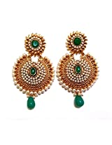 Lalso Designer Gold Plated Stunning Green Earrings for Wedding, Gift - LAE34G