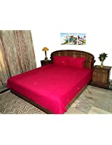 Amita's Home Furnishing Dark Pink Color Double Bedsheet With 2 Pillow Cover