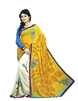 Faux Georgette Saree in Yellow Colour for Casual Wear