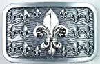 Fleur De Lis Multiple Logos in Silver with Square Antique Finishing Belt Buckle