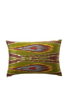 "D. Bryant Archie Uzbek Ikat Pillow, Burgundy/Blue/Yellow, 12"" x 16"""