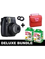 Fujifilm Instax Mini 8 - Black + 40 Pack Instax Film + Butterfly Red Gm Bag + Black Selfie Mirror