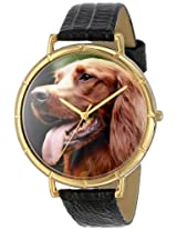 Whimsical Watches Women's N0130047 Irish Setter Black Leather And Goldtone Photo Watch