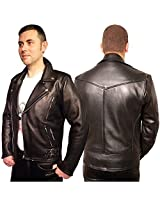 Iftekhar Men's Pure leather Jacket - Black - (Iftekhar50 - M)